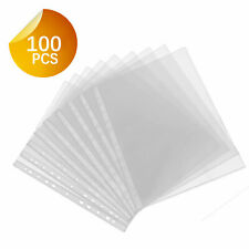 100 Sleeves Clear Plastic Sheet Page Protectors Document Office Ring Non Glare