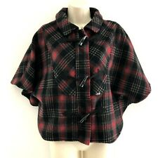 Volcom women's juniors XS jacket coat poncho cape plaid wool blend red black