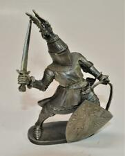 """1983 Signed Perth Pewter Knight w Sword & Shild 5""""h Figurine #Fa-56 by Ray Lamb"""