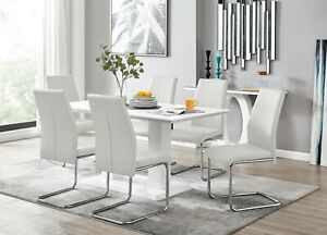 IMPERIA White High Gloss Dining Table Set & 6 Chrome Faux Leather Dining Chairs