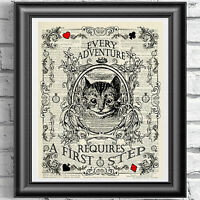 ART Print DICTIONARY ANTIQUE BOOK PAGE Alice in Wonderland VINTAGE Cheshire Cat