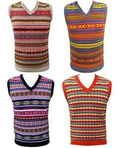 Mens Vintage style 1930's 40's WW2 Wartime Fair isle knit Tank Top Vest Sweater