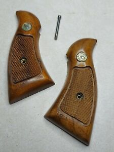 Smith & Wesson K-Frame Wood Grips Checkered Model 10 12 13 14 15 17 19 65 66 67