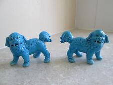 Antiguo Porcelana China Turquesa-par De Perros De Fo