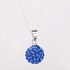Sterling Silver Crystal Disco Ball Blue Rhinestone pendant chain Necklace F17