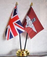 UNION JACK & PARACHUTE REGIMENT TABLE FLAG SET 2 flags GOLDEN BASE BRITISH ARMY