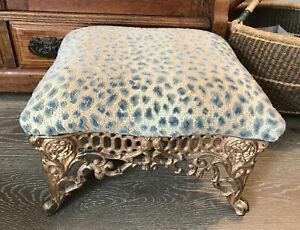 Vintage Victorian-Style Heavy-Weight Cast Iron Foot Stool Leopard Pattern