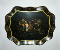 Old Antique Vtg 19th C Folk Art Stenciled Tole Painted Tin Serving Tray Toleware