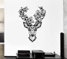 Wall Vinyl Sticker Decal Deer Horn Decoration Fantasy Forest Flower Head (ed555)