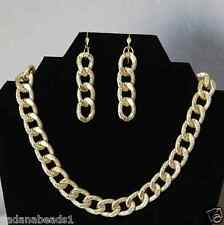 Yellow Gold Bold and  Chunky Chain links Necklace with Leverback earring set