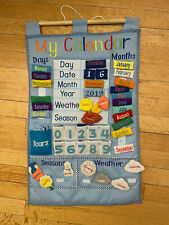 Adorable fabric classroom calendar with 47 hook-and-loop attachable pieces
