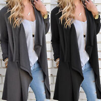 Women Long Sleeve Waterfall Cardigan Open Front Coat Autumn Duster Jacket Blazer