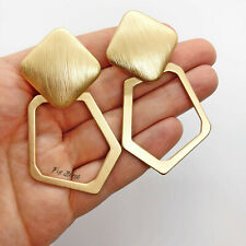 Matte Gold Large Geometric Statement Clip On Earrings Blogger UK Catwalk Drop