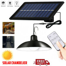 LED Solar Powered Pendant Lights Security Waterproof Garden Outdoor Lamps+Remote