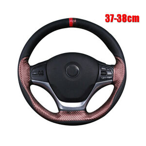 38cm Car Steering Wheel Cover Hand Stitching Brown Carbon Fiber+Black PU Leater