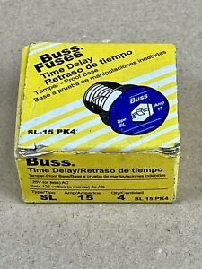 Bussman SL-15PK4 Box of 4 15 amp Reject Base Plug Fuse.                       D2