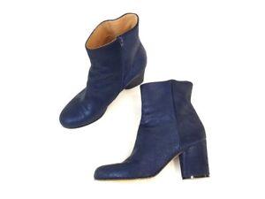 Maison Margiela Navy Blue Metallic Ankle Bootie Boots Shoes 39