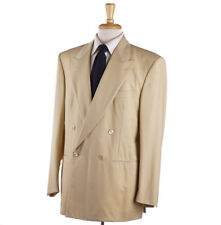 NWT $4295 D'AVENZA Solid Tan Super 150s Wool Suit 42 R Classic-Fit