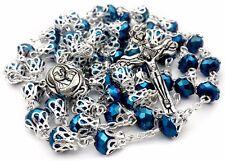 Long Catholic Rosary Deep Blue Crystal Beads Prayer Necklace Holy Medal & Cross