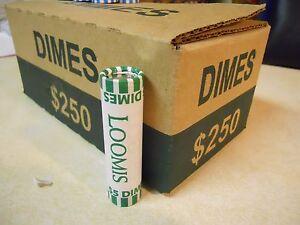 25 Rolls ($125) Unsearched Roosevelt Dimes, Bank Rolled, Denver Area