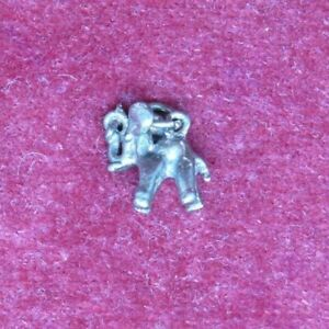 Stirling Silver Good Luck Elephant with Raised Trunk Dangle Charm