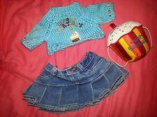 girl Build-a-Bear 3pc HAPPY BIRTHDAY SET Cake Pillow denim skirt doll clothes