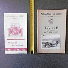 AUTOMOBILE LUC COURT LYON 1920  12 HP NOTICE ENTRETIEN + TARIF