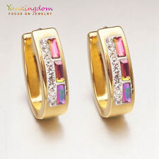 Birthday Gift Colorful Cubic Zircon Gold Plated Lady Ear Jewelry Hoop Earrings