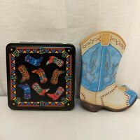 Collectible Tin Metal Cowboy Cowgirl Boot Container Boxes Canisters