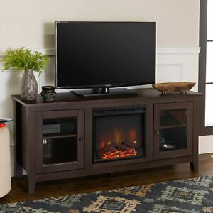 Walker Edison Espresso Fireplace TV Stand for TVs up to 64""