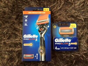 GILLETTE FUSION PROGLIDE POWER RAZOR HANDLE + 1 BLADE + 1 PACK OF 4 BLADES