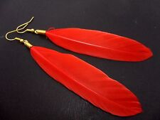 A PAIR OF LONG RED FEATHER  DANGLY EARRINGS.