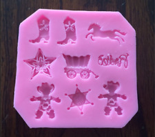 WESTERN COWBOY THEME SILICONE MOLD FONDANT CHOCOLATE CANDY MOLD