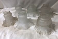 6 VTG FROSTED  GLASS LIGHT/CEILING FAN/CHANDELIER SHADES/GLOBES