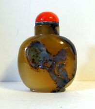 New listing Antique shadow agate snuff bottle Qing Dynasty with carving of bird on tree
