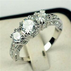 White Gold Filled Clear Triple Crystal Ring