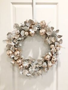 Modern Contemporary Faux Floral Rose Gold Silver grapevine FALL & WINTER Wreath