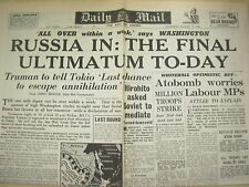 DAILY MAIL WWII NEWSPAPER AUGUST 9 1945 ULTIMATUM TO JAPAN