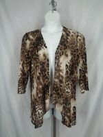 Easywear by Chicos Cardigan Size 2 (12) Large Animal Print Stretch