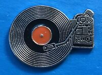 Vintage Record Player DJ Metal Silver-Tone Enamel Lapel Pin Back Tie Tack