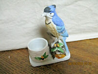 Vtg Hand Painted Bisque Porcelain Jasco Luvkin Songbirds Blue Jay Candle Holder