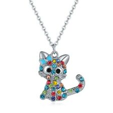 Fashion Cartoon Kitten Pendant Necklace With Crystals For Little Girls