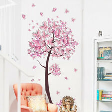Pink Flower Butterfly Tree Wall Stickers Art Decal Girls Bedroom Decor DIY G6A