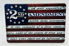 "AMERICAN FLAG, 2nd AMENDMT, Aluminum Trailer Hitch plug Cover, UV, 4"" X 6"""