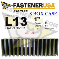 "L Staples L13 Galv 18 gauge 1/4"" crown - 1"" length (fits Hit/Sen) case qty 8"
