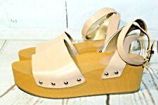 Sam Edelman Brynn Platform Sandals Wooden Wedge Heels Strapy Beige Leather Sz 10