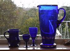 Lot of 4 Cobalt Blue Glass Jugs & Goblets - Collectable -  Art Glass