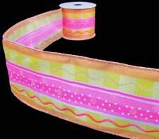 "3 Yards Cake Novelty Pink Orange Yellow Polka Dot Wave Wired Ribbon 2 1/2""W"