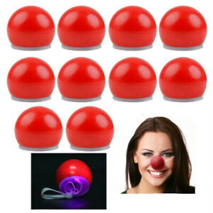 Light Up Red Clown Nose Circus Clown Costume Accessory Carnival Rudolph 12pk