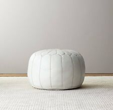 Moroccan Leather Ottoman Pouffe Pouf Footstool In White